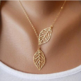 Two Leaves Pendant Necklace (Gold)