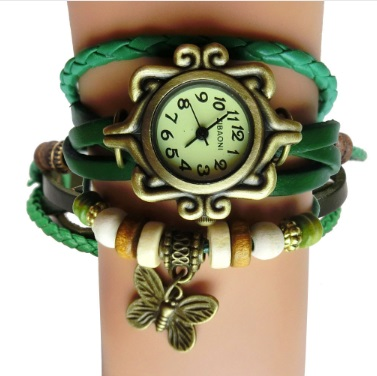 Antique Leather Bracelet Women's Watch with Butterfly Pendant (Green)
