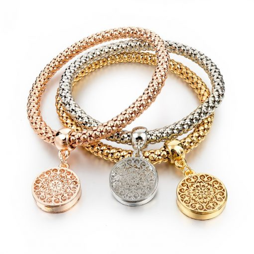 Long Way Gold Silver Chain Bracelet with Hollow Charm (Circle)