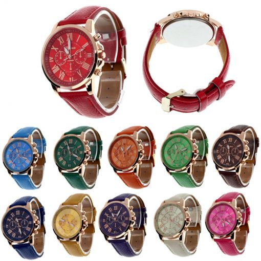 Geneva Casual Leather Women's Quartz Watch (11 Colors)
