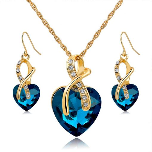 Gold Plated Crystal Heart Necklace & Earrings Jewellery Set (Blue)