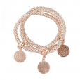 Long Way Gold Silver Chain Bracelet with Hollow Charm (Circle Gold)
