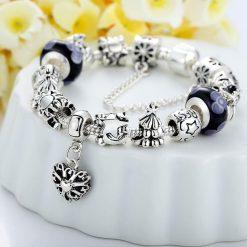 European Charm Bracelet with Heart For Women (Design #1)