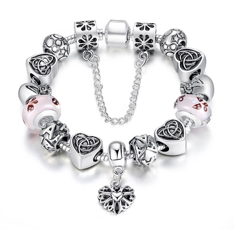 European Charm Bracelet with Heart For Women (3 Designs) • JusGift