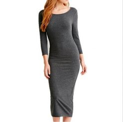 Women Classic Bodycon Midi Dress (Dark Grey)