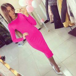 Women Classic Bodycon Midi Dress (Pink)